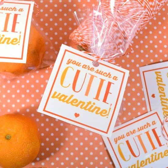 These valentines, featuring Cutie-brand mandarin oranges, fit the bill, and are easy and quick to put together!