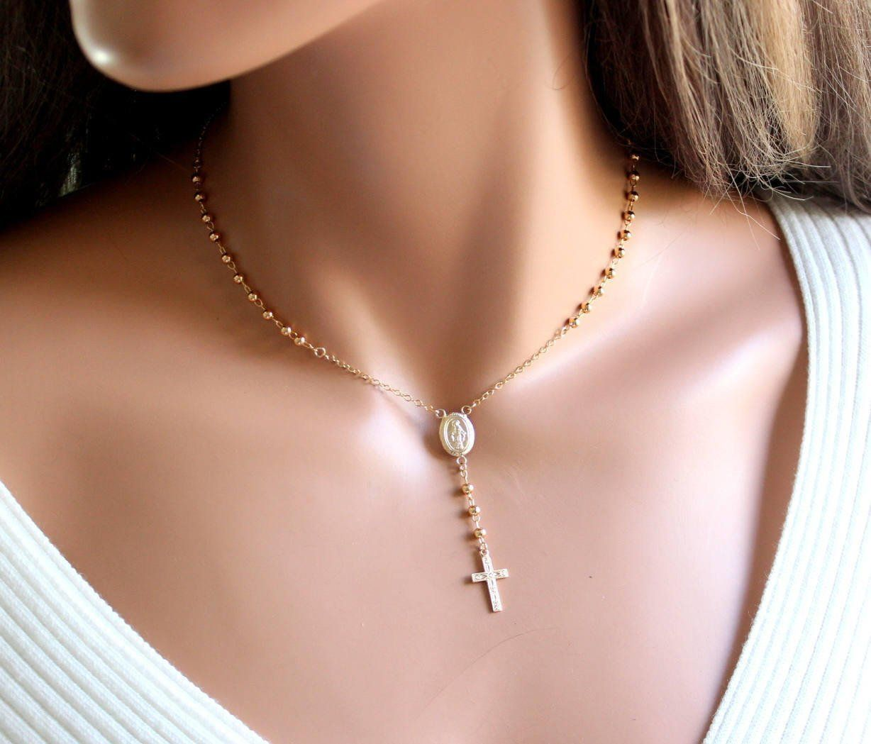 Superior Quality Rosary Necklace Gold Filled Sterling Silver Women Black Gold Jewelry Womens Necklaces Silver Classy Necklace