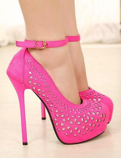 5cd3ec5baec Pink Strappy High Heels, Pink Pumps, Ankle Strap High Heels, Stiletto Heels,