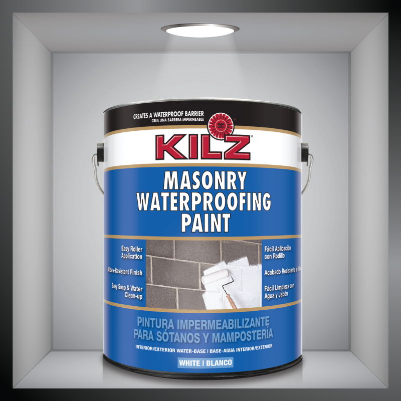Kilz Masonry Waterproofing Paint Creates A Waterproof Barrier On Most Concrete And Masonry Surfaces Specialty Paints Painting Concrete Basement Makeover