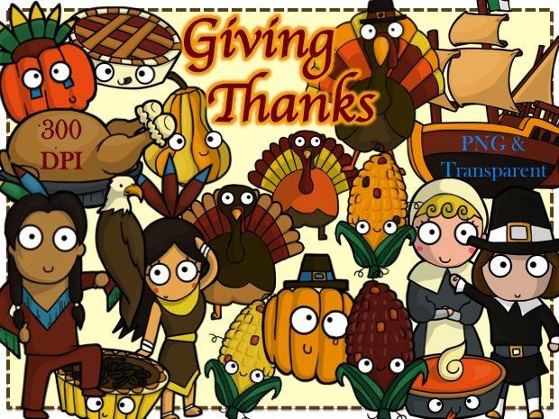 Gobble Gobble! Thanksgiving Clip Art (+ Black/White Outlined) 33 total.  #tpt #thanksgiving #clipart