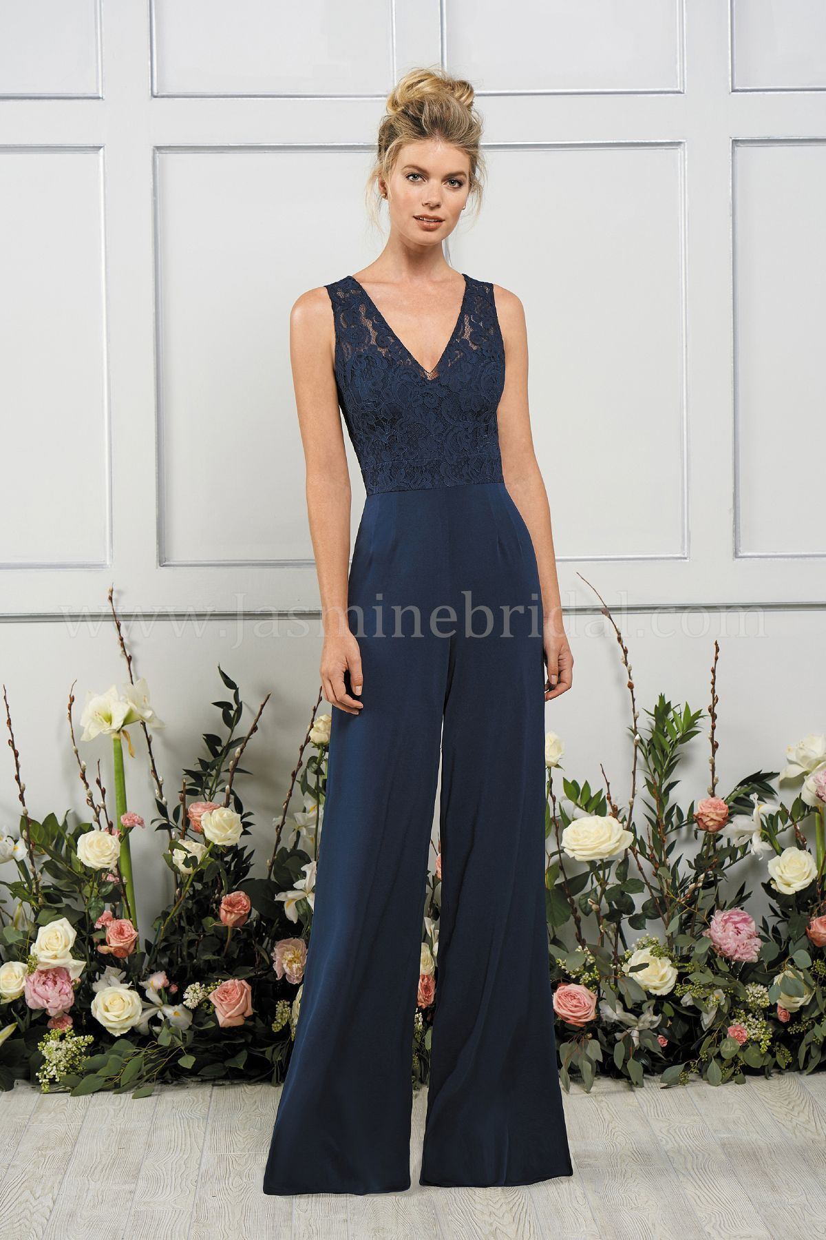 Jasmine Bridal B2 Style B193053 In Navy Lacematte Jersey Wide