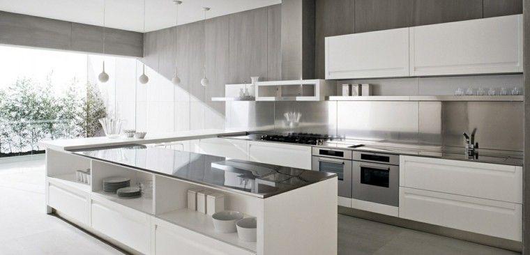 Diseño cocinas blancas y modernidad en 50 ideas Paredes de madera - paredes de madera