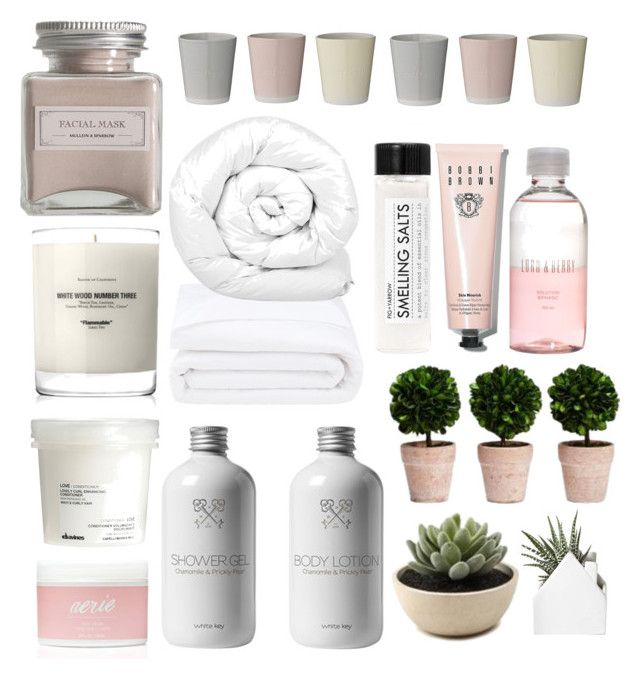 """Spa at home"" by lauracooperrrr on Polyvore featuring Baxter of California, Davines, Aerie, Lord & Berry, Bobbi Brown Cosmetics, Mullein & Sparrow, Fig+Yarrow, Frette, Brinkhaus and Bloomingville"