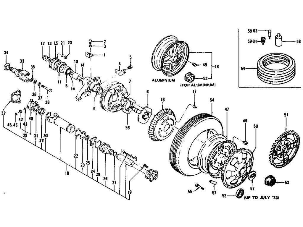 Rear Axle & Drive Shaft   240z Parts Diagrams   Drive shaft