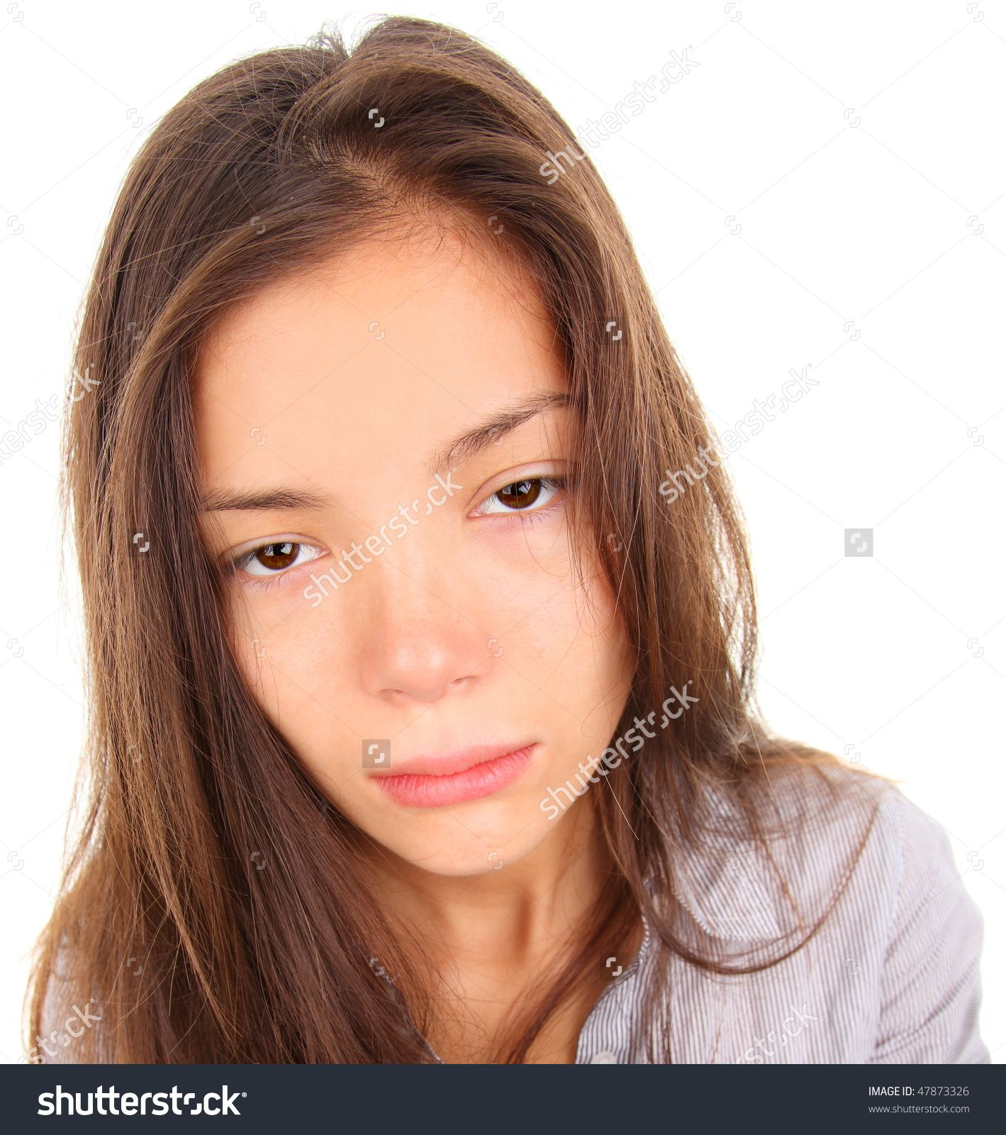 Tired Woman With Empty And Bored Eyes Mixed Race Asian -6324