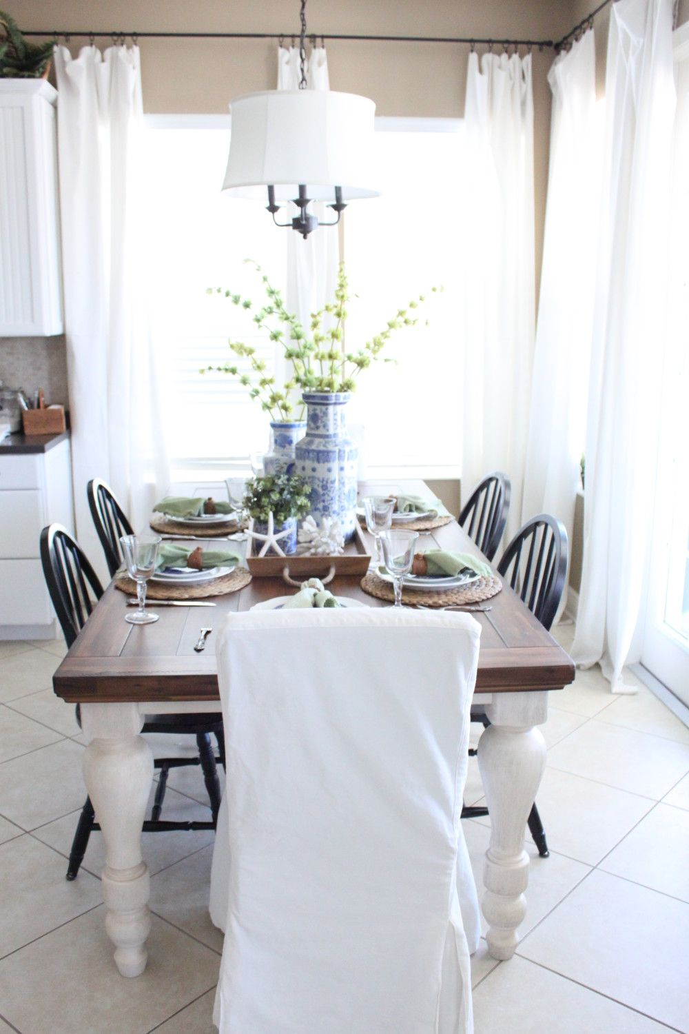 A Blue and Green Cottage Table Farmhouse table