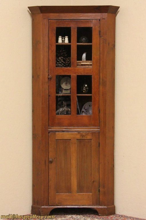 Country Pine 1840 Antique Corner Cabinet - Country Pine 1840 Antique Corner Cabinet Antiques:Misc Prims