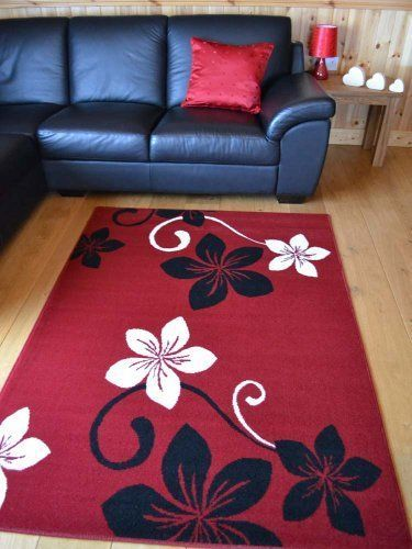Black And Off White Flower Design Rug