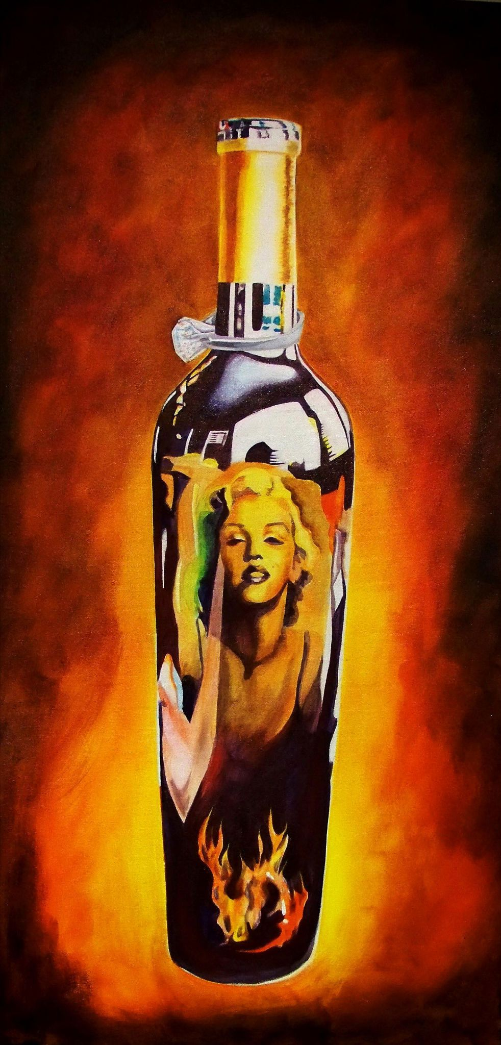 """""""Diamonds and Wine are a Girl's Best Friend"""" 18"""" by 36"""" Acrylic on Canvas Original http://www.rockstargallery.net/stacey-wells #marilynmonroe"""