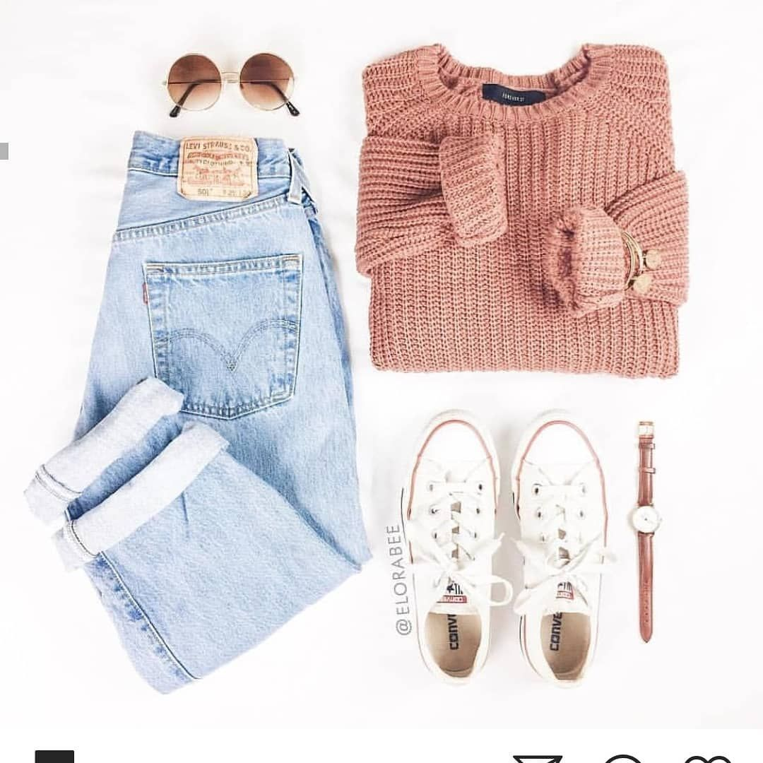 Love The Faded Levis And Chunky Sweater