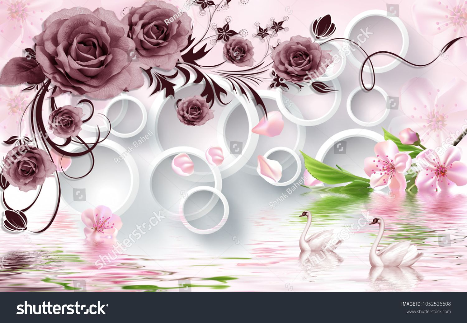 Rose Flowers On 3d White Circle Background With Duck Wallpaper For Walls White Circle Rose Flo Pink Wallpaper Backgrounds Pink Wallpaper Wallpaper Backgrounds