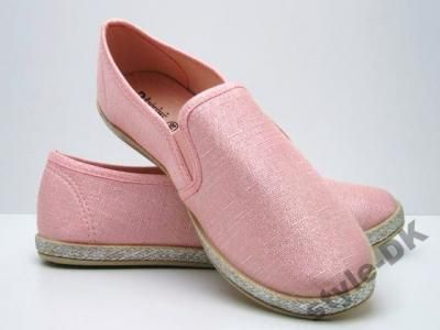 A99 Trampki Slip On Len Rozowe 37 Slip On Flat Espadrille Shoes