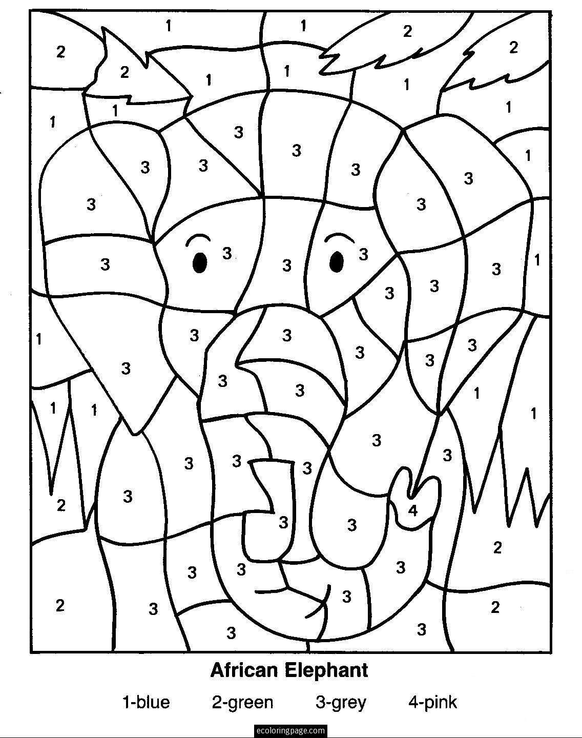 color by numbers elephant coloring pages for kids - Free Easy Coloring Pages