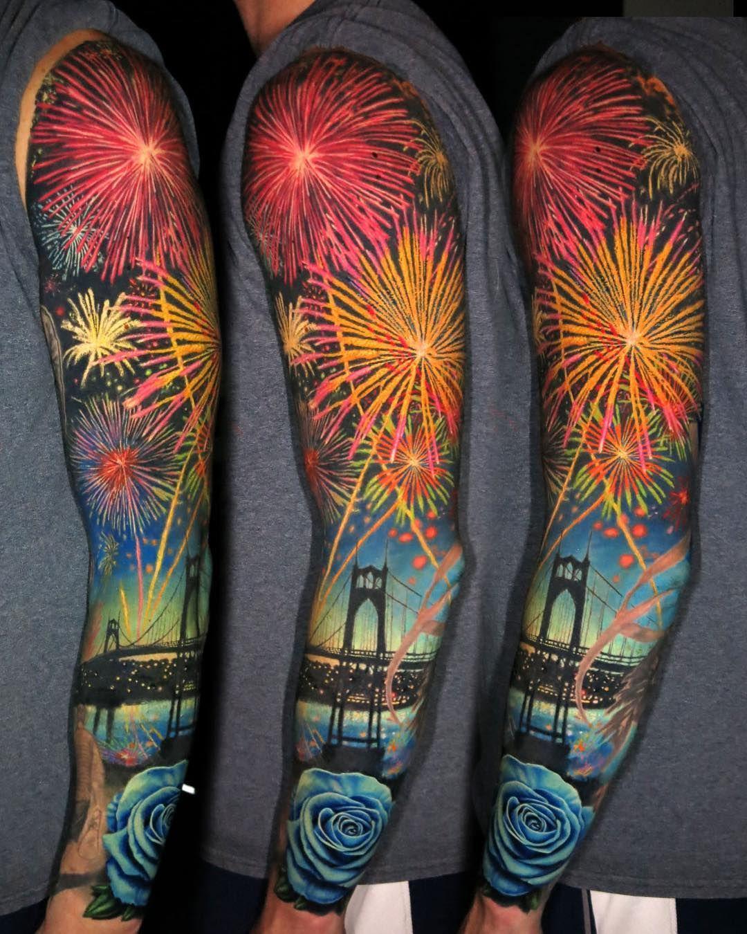 Firework sleeve tattoo by jamie_schene firework tattoo