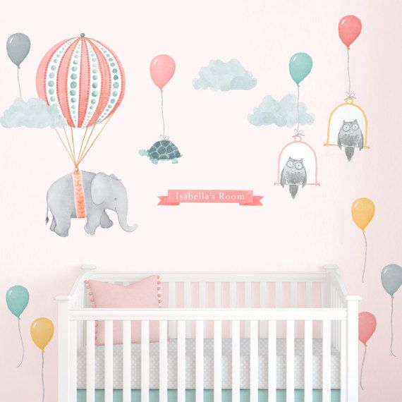 Small Personalized Floating Elephant Kit  Fabric Wall Decal