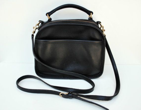 Vintage Coach Black Leather Lunch Box Crossover Shoulder Bag
