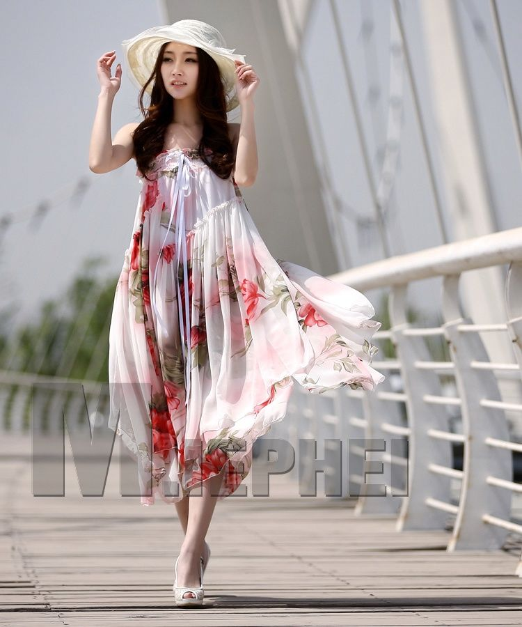 Long Lilac Chiffon Top Dresses Summer Flower Print Dress Maxi