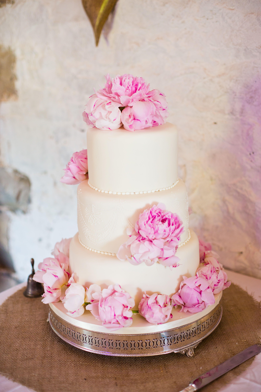 Pink Peony Wedding Cake On Silver Cake Stand Pink Wedding Cake