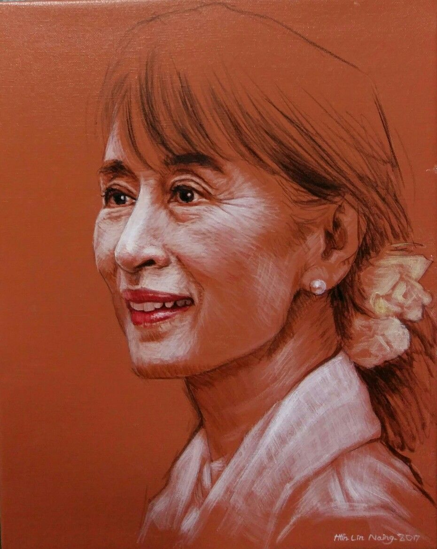 Aung san suu kyi sketch by artist htin lin naing with