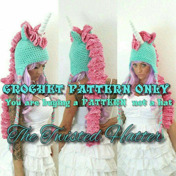Twisted Unicorn PDF crochet PATTERN (not a finished hat) pls read description before buying