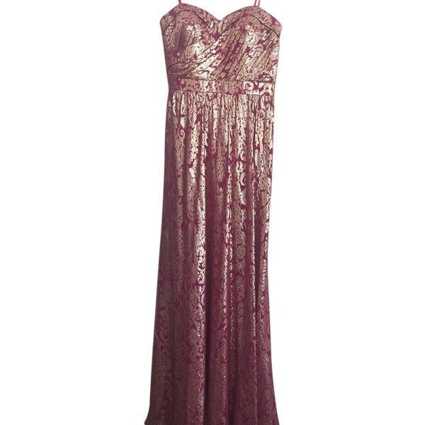 Pre-owned Aidan Mattox Fushia/gold Dress ($215) ❤ liked on ...