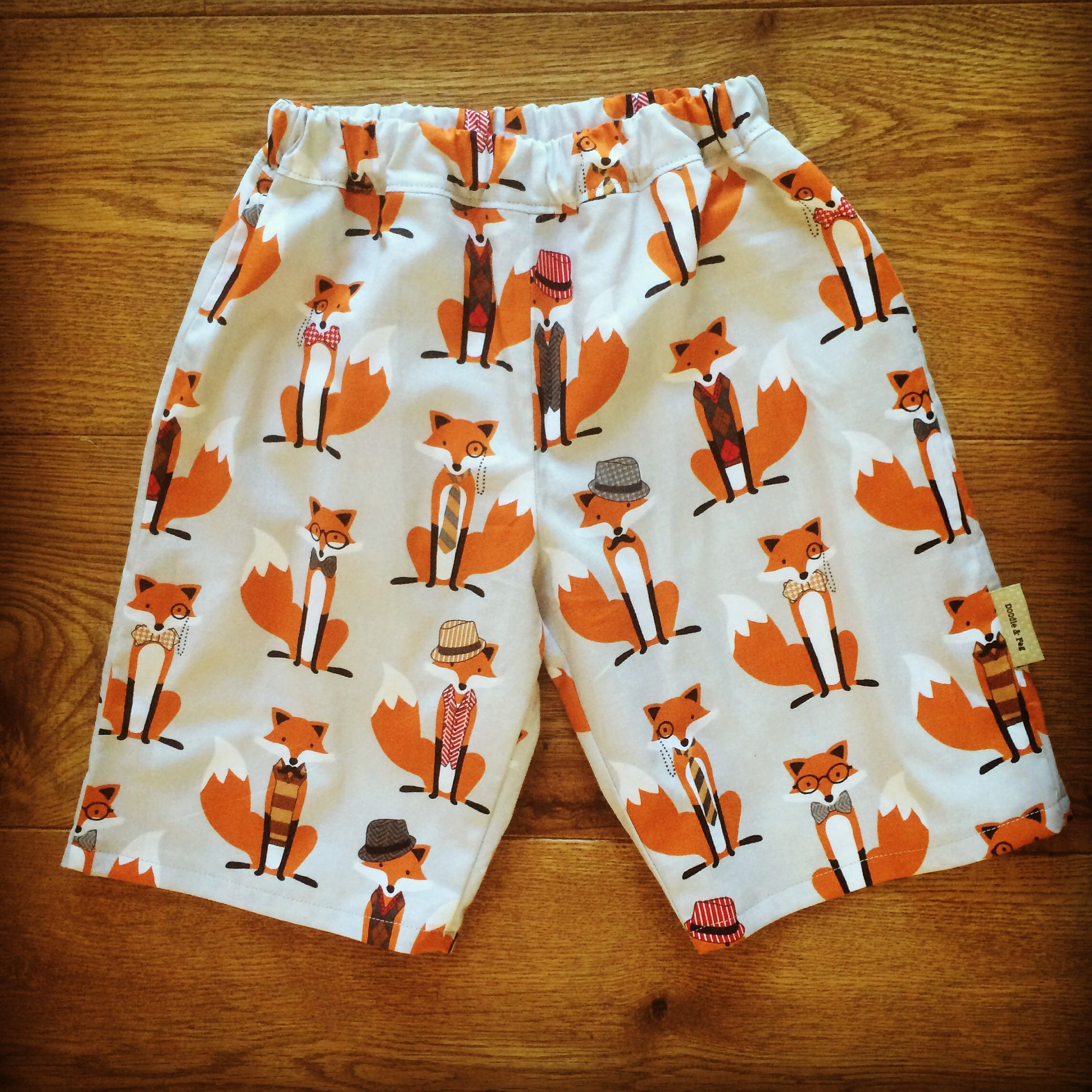 Foxy print handmade shorts without pockets by doodle peg
