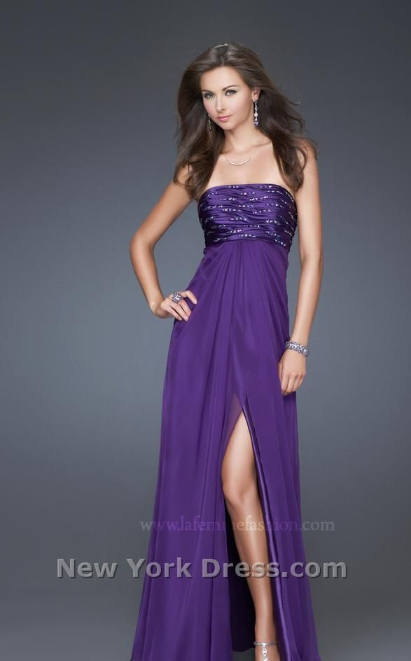 Long purple bridesmaid dress, open slit.....you could see the boots ...