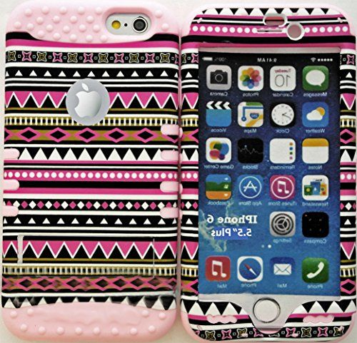 """myLife Stylish Design and Layered Protection Case for iPhone 6 Plus (5.5"""" Inch) by Apple {Deep Coral Pink """"Tribal Aztec Finish"""" Three Piece SECURE-Fit Rubberized Gel} myLife Brand Products http://www.amazon.com/dp/B00PV0HOT4/ref=cm_sw_r_pi_dp_7t2Cub02JMZ2Y"""