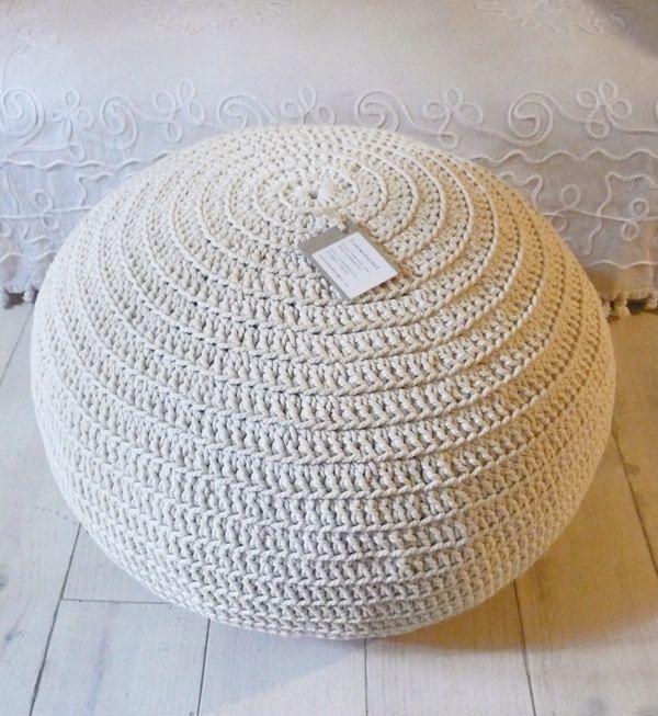 Pouf Crochet big - Ecru | HeavenlyHome | Pinterest - Interieur