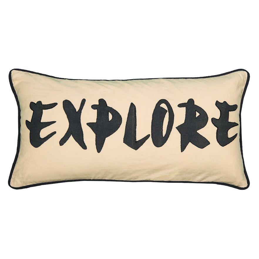 """""""Rizzy Home Word """"""""Explore"""""""" Applique Oblong Throw Pillow, Beig/Green, 12X21"""""""