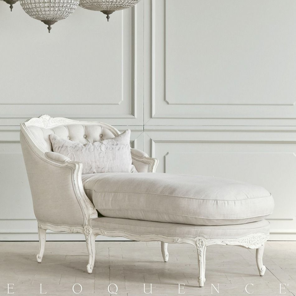 Eloquence Louis Tufted Chaise Antique White : white tufted chaise - Sectionals, Sofas & Couches