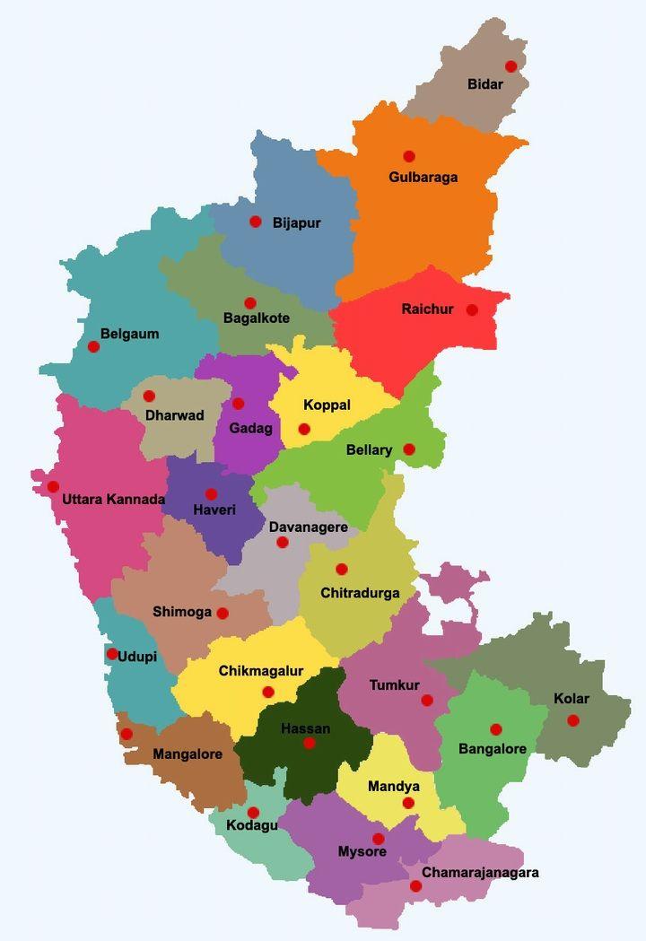 Map of Karnataka districtwise, Karnataka map, pilgrimage centres ...
