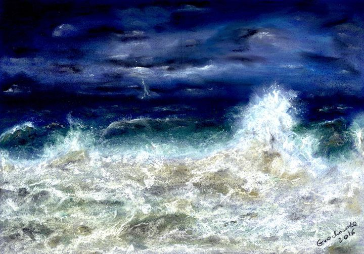 The storm is - Catherine Grochowska - Paintings & Prints Landscapes & Nature Beach… | ArtPal thumbnail