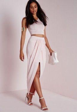 839582bc74 Slinky Wrap Maxi Skirt Pink | Clothes i like | Skirts, High waisted ...