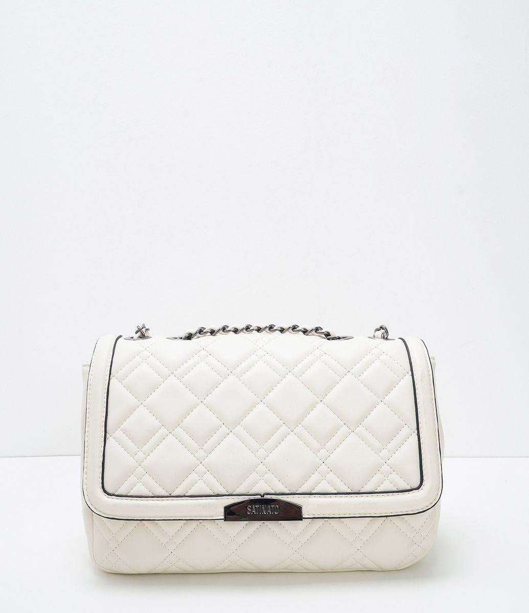 86871724d Bolsa feminina Modelo transversal Com lapela Em matelassê Com duas alças  Marca: Satinato Material: