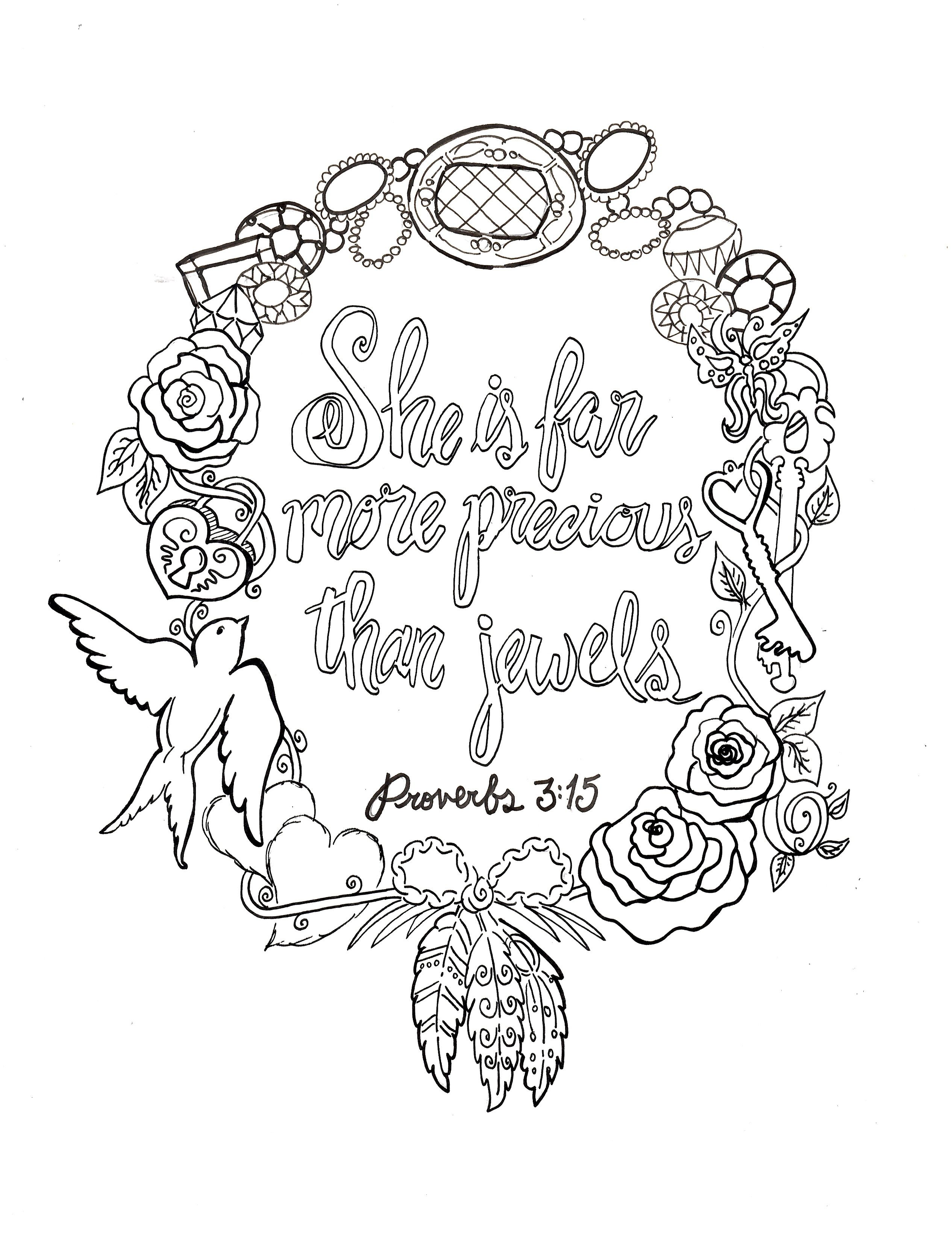 Proverbs 3:15 Printable Free 8x10 Coloring Devotions to