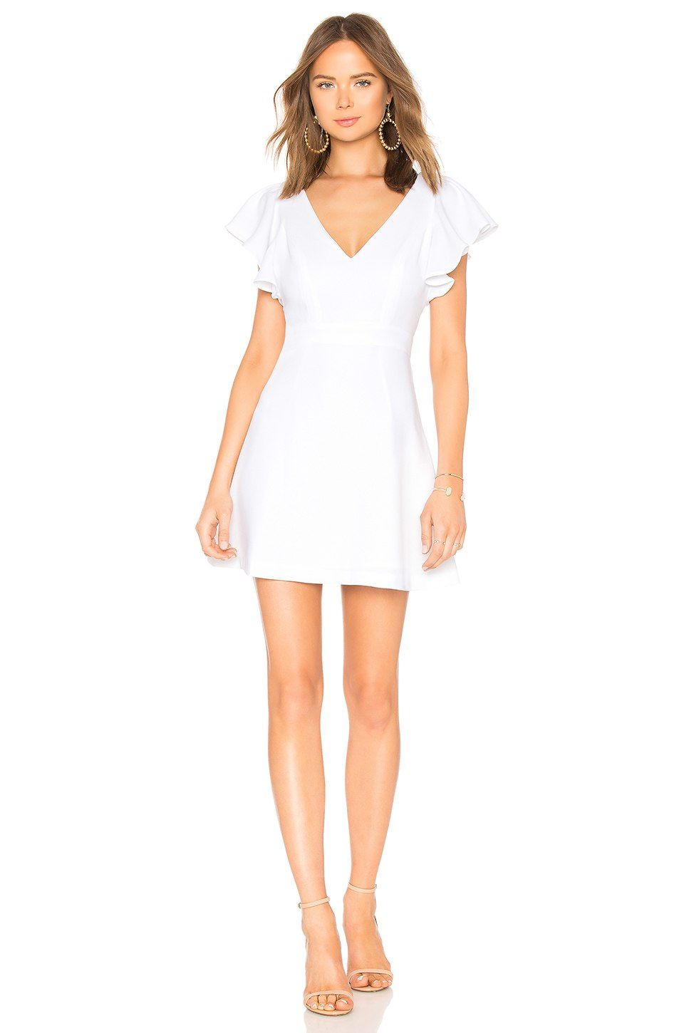 a3bd431140bd BCBGeneration Deep V Ruffle Sleeve Dress In Optic White in Optic White |  REVOLVE