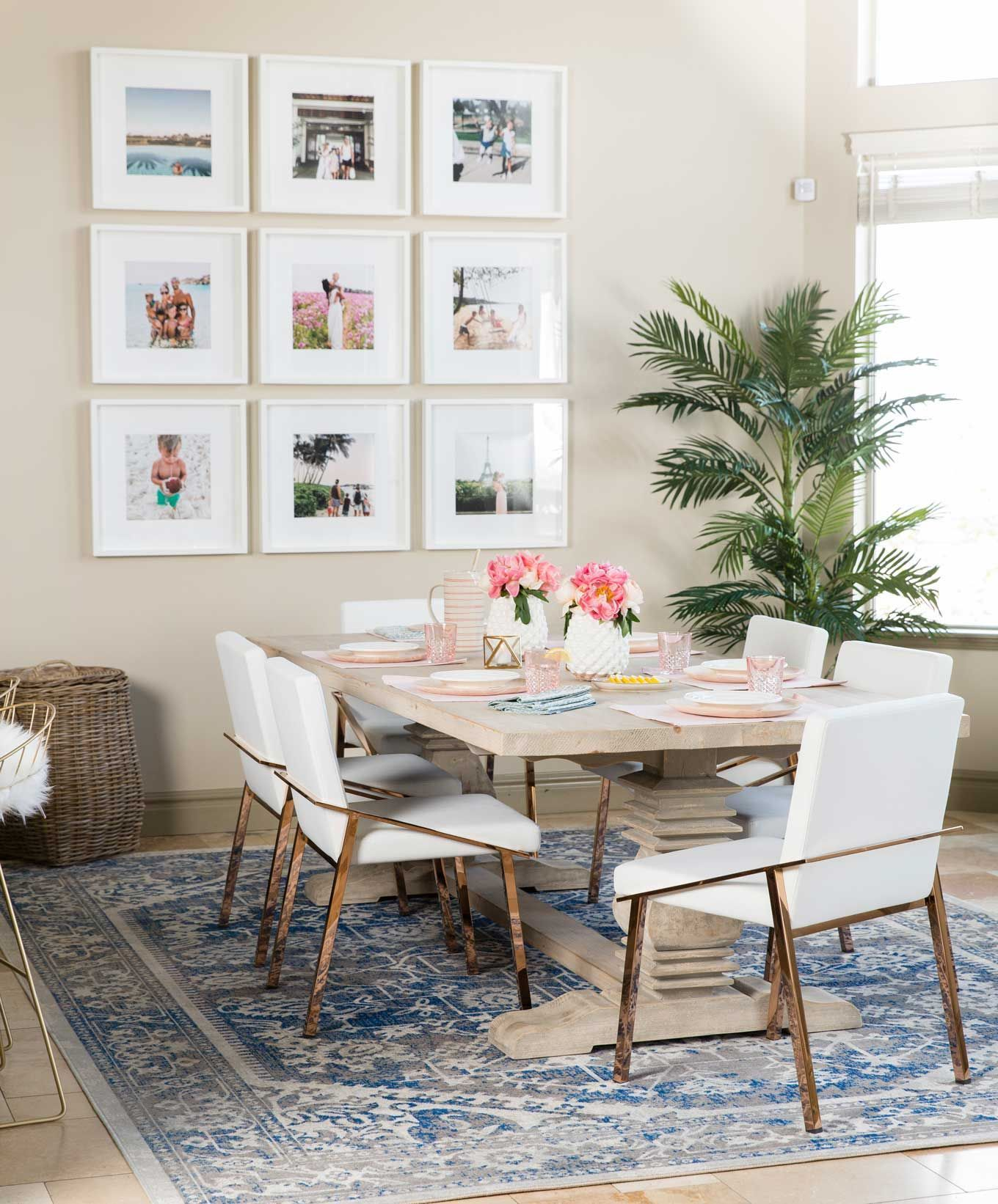 How To Choose A Rug Rug Placement Size Guide Modern Dining Room Blogger Dining Room Dining Room Walls