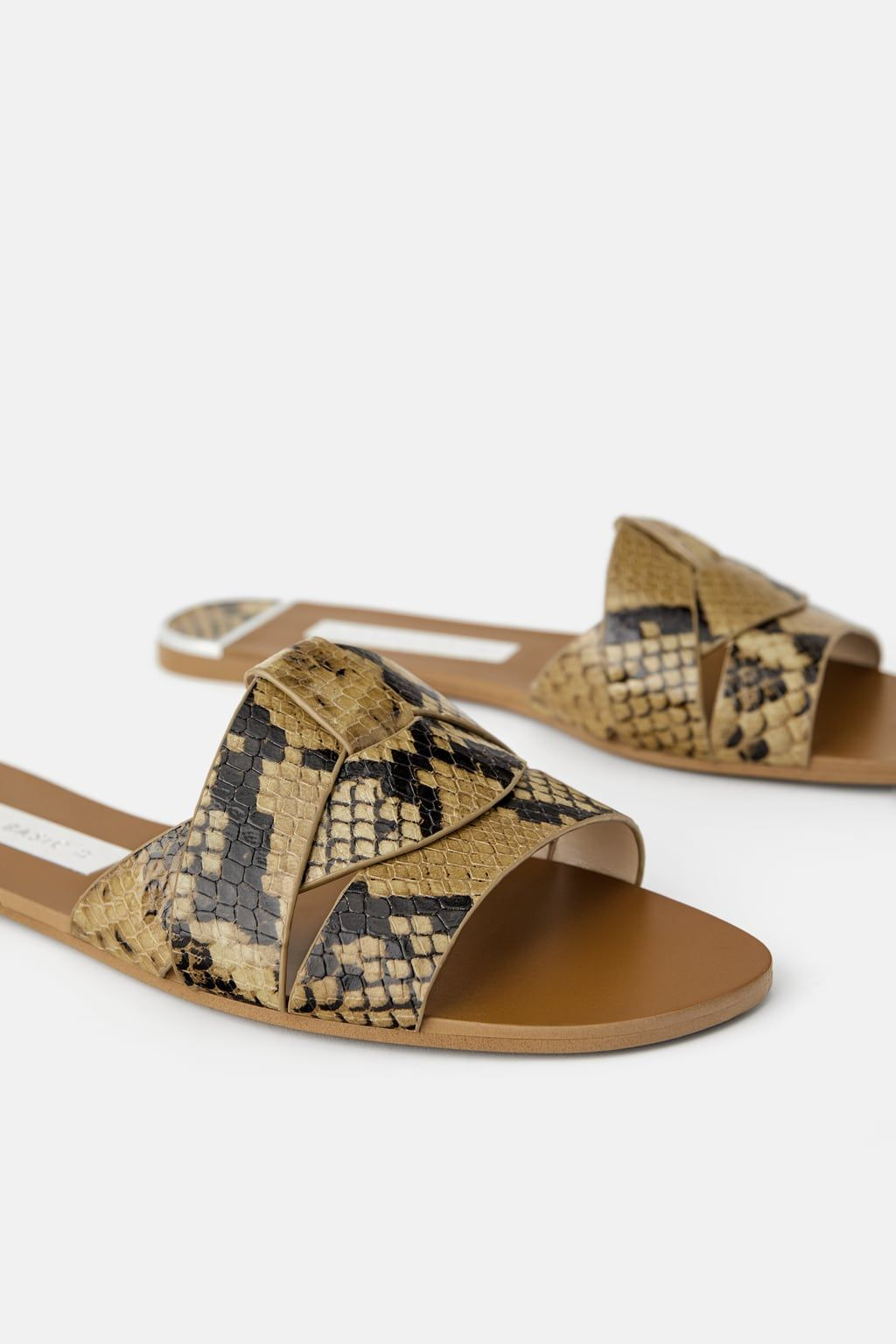 1745a38fc ANIMAL EMBOSSED LEATHER SLIDES-Flat Sandals-SHOES-WOMAN | ZARA ...