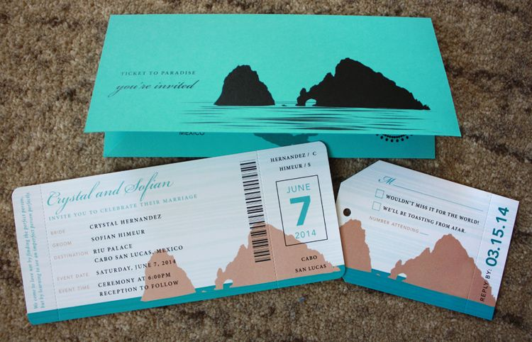Turquoise \ Tan Cabo San Lucas Rock Arch Airline Ticket Wedding - plane ticket invitation template