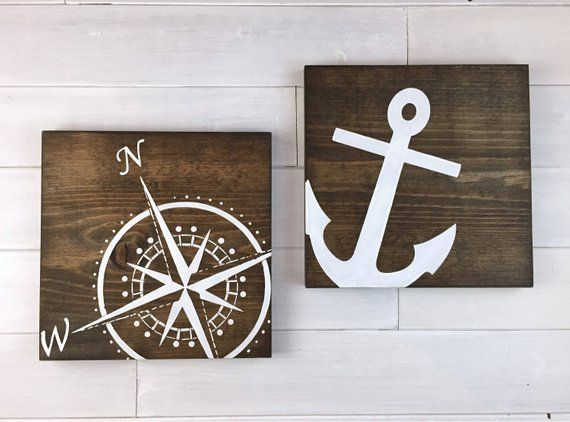 Photo of Compass Sign, Set of 2 signs, Anchor Sign, adventure sign, Travel decor, Nautical decor, beach decor, lake decor, compass art, Lake Signs