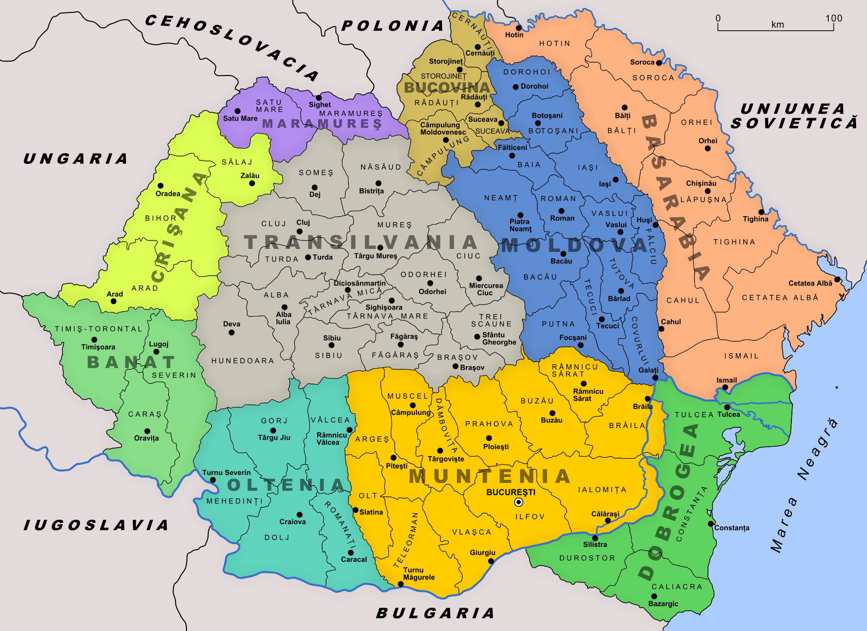 Administrative map of Romania in 1930 MAPS Pinterest History