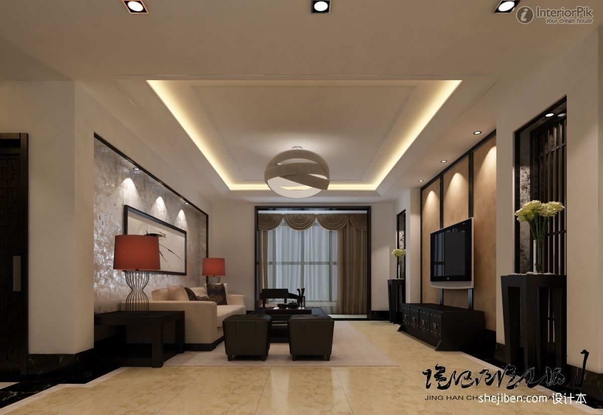 decorative ceiling ideas | Double high ceiling living room plaster ceiling  design. Chinese-style