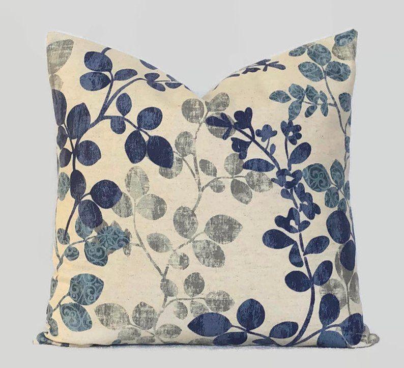 Farmhouse blue floral decorative throw pillow cushion