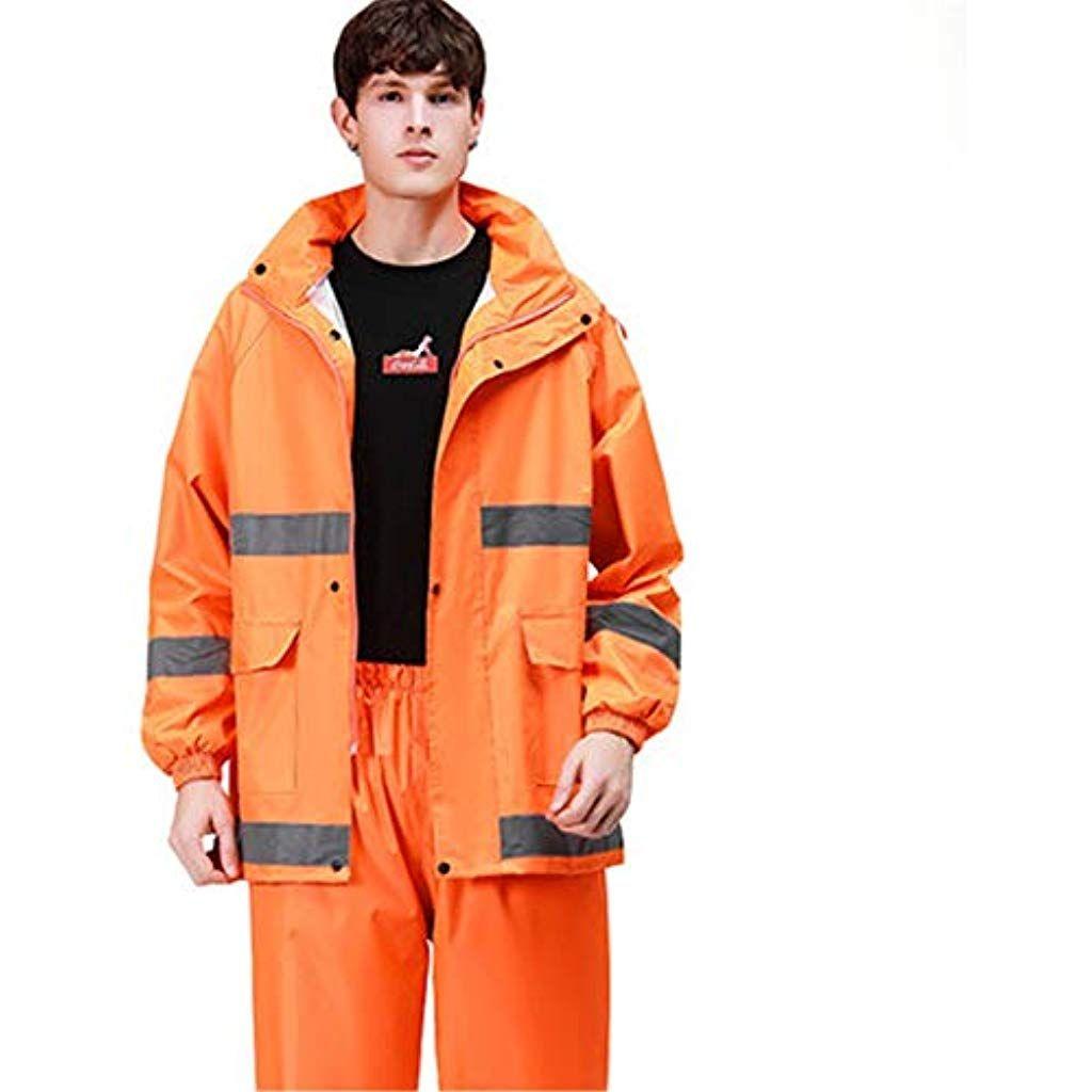 Impermeabili Giacca Antipioggia E Tuta per Pantaloni Impermeabile con Cappuccio E Impermeabile Impermeabile Uomini E Donne Abbigliamento da Lavoro per Adulti Arancione da Bicicletta Dimensioni