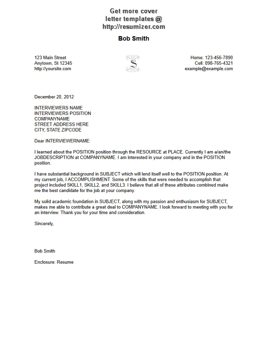Free cover letters templates this sales cover letter example is an Resume  CV Cover Letter
