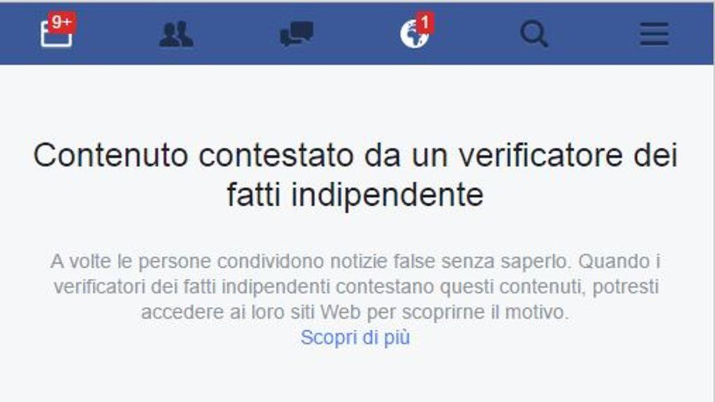 Il sistema di verifica delle notizie false di Facebook arriverà presto anche in Italia