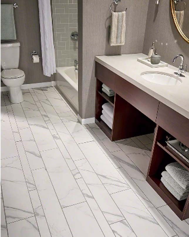 Reminiscent Of Fine Marble, Marbella Carrara Pattern Marble Look Porcelain Tile  Kits Feature Pre