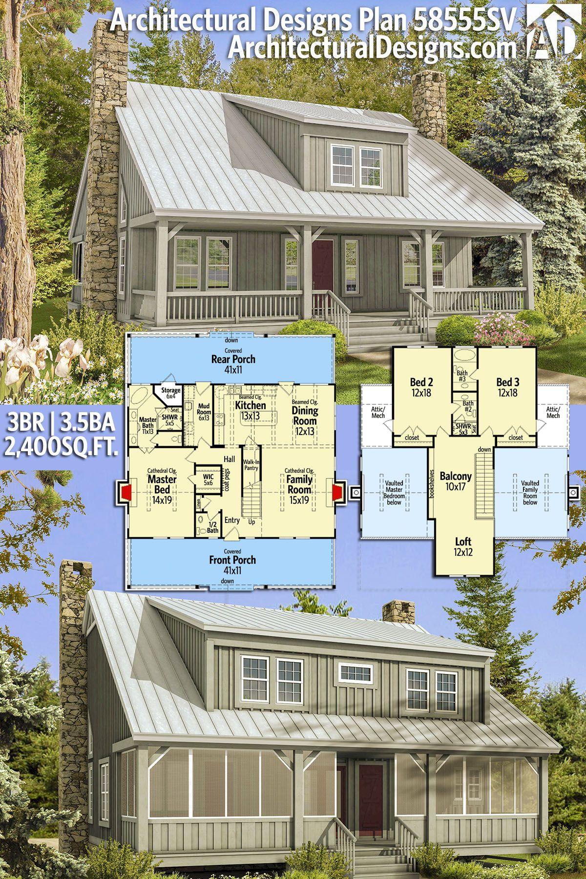 Plan 58555sv Big Rear And Front Porches Architectural Design House Plans Rustic House Plans Dream House Plans